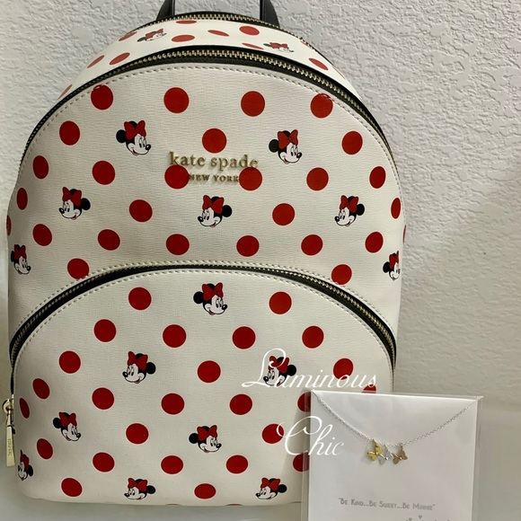 Kate Spade Disney Parks Minnie Mouse polka dot backpack and sterling Necklace